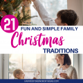 Family Christmas traditions don't have to be complicated and expensive! Make memories as you decorate, do a Christmas puzzle, hunt for candy canes, make ornaments, and more! Make memories without sacrificing your mental health or budget. These easy family Christmas traditions are affordable and fun for all ages. This list includes Christmas movies to watch, books to read, DIY kid ornaments, white elephant gift ideas, and so much more! #Christmas #Christmastraditions #familyChristmastraditions